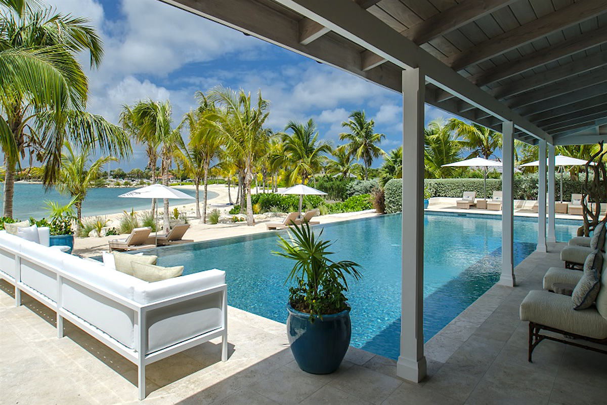 Luxurious beachfront pool at Sandpiper Villa