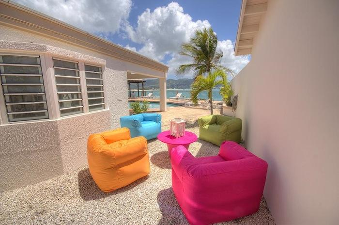 Four brightly colored and overstuffed chairs!