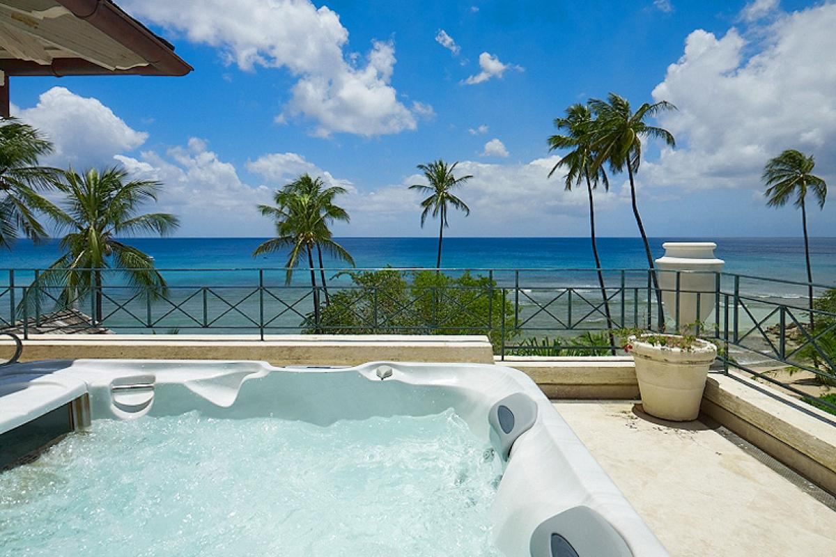 Private hot tub with beach and ocean views