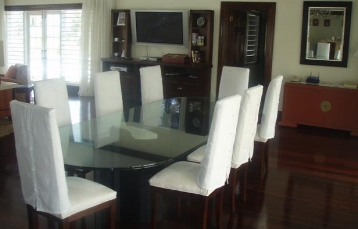 Indoor dining room with seating for eight.