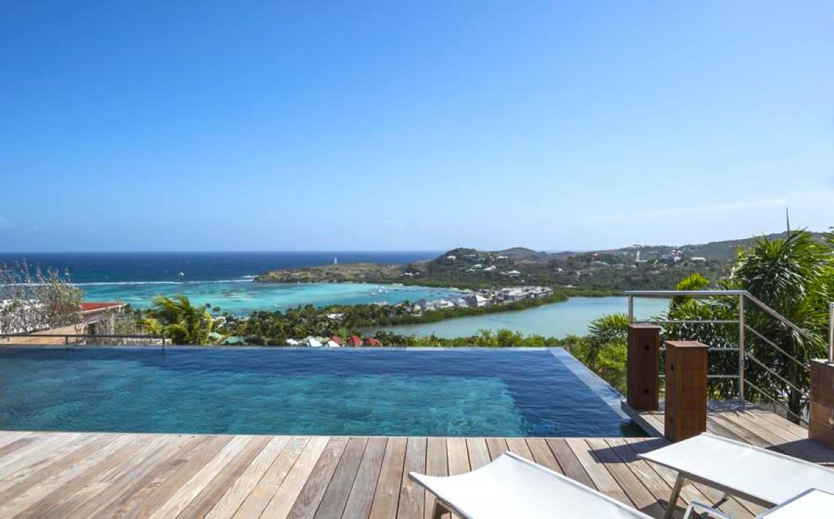 Infinity edged pool overlooking the Caribbean at Black Pearl Villa