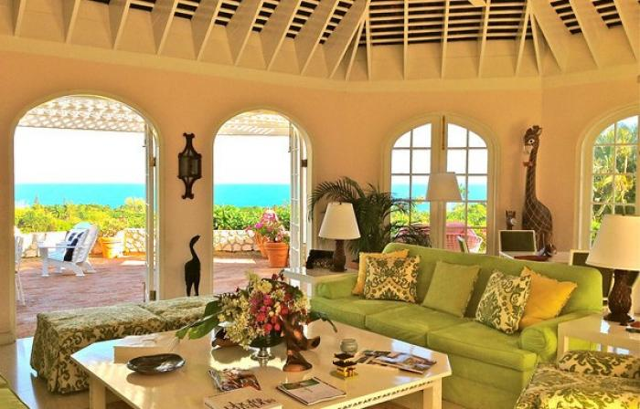 High vaulted ceilings keep the living room cool and comfortable.