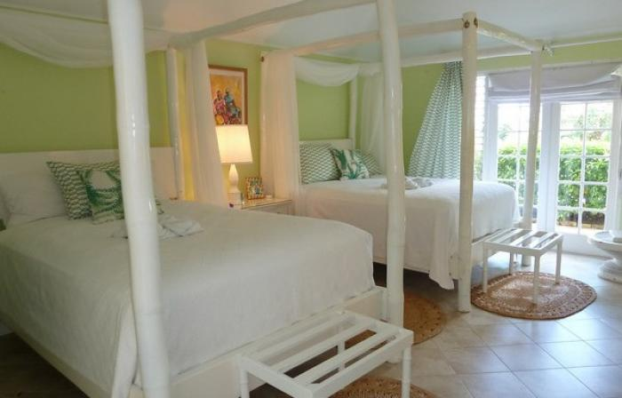 Green Bedroom offers two queen beds.