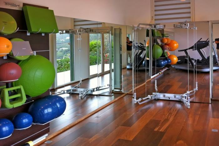 Lower level fitness gym.
