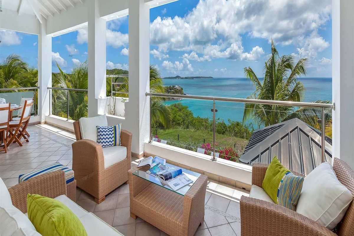 Patio views of the Caribbean from Sea Dream Villa