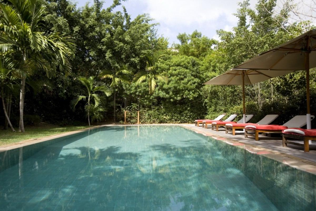The secluded pool offers privacy at Villa #106