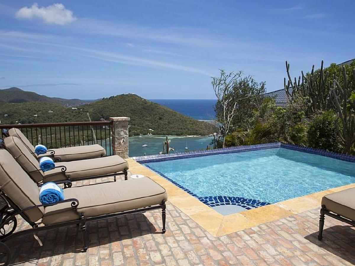Spectacular views from the pool and veranda at Caribbean Palm Villa