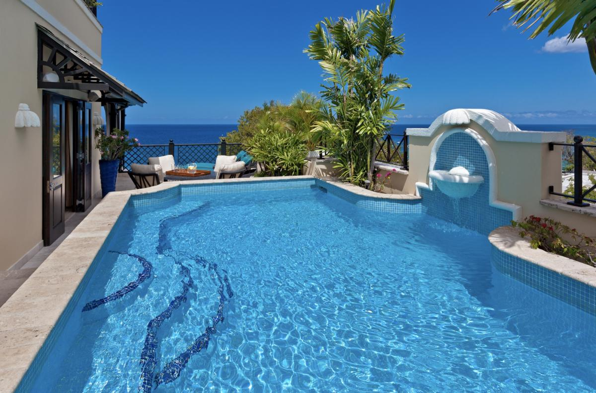 Stunning pool with views out to the Carribean