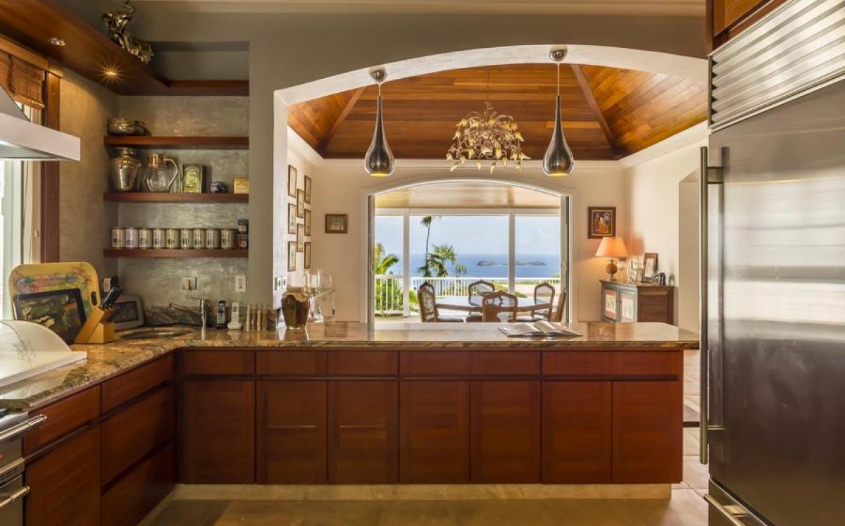 Kitchen with view of the ocean